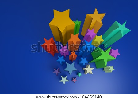 on a blue background a lot of all color stars
