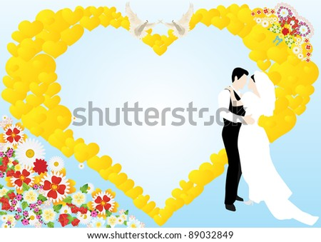 On a blue background depicts an abstract heart, flowers, two white doves and the bride and groom - stock photo