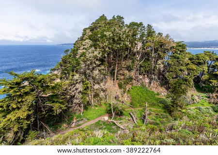 On a crisp spring morning, looking down from Whaler's Knoll Trail, you see Cypress trees, blue sea, & sky, rock formations, the North Shore Trail & Carmel Bay, at Point Lobos State Natural Reserve. - stock photo