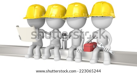 On a Crossbeam. Dude the construction workers sitting on a Crossbeam. Isolated. - stock photo