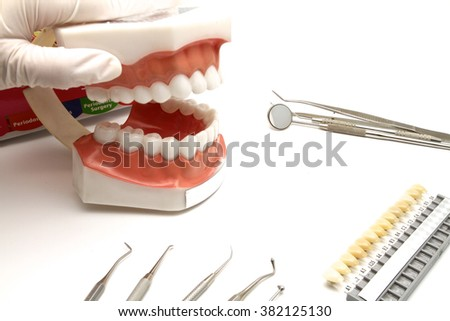 On a dentist's table, there 're many dental instruments , dental shade guide and a dentoform for patient instruction  and treatment plan.
