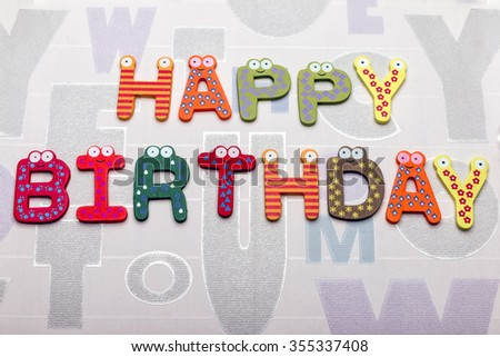"On a white background ""happy birthday"" text - stock photo"