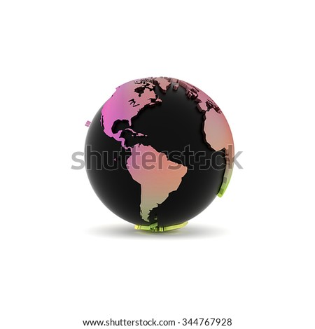 On a white background is represented by a black globe gradient purple and green color ground. This rendering of 3D earth model.