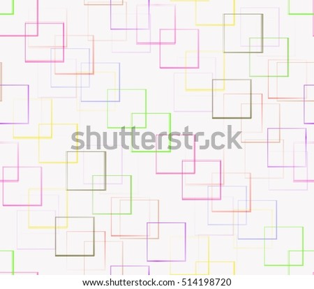 on a white background painted yellow, red, pink, brown, green squares superimposed on the ends of each other