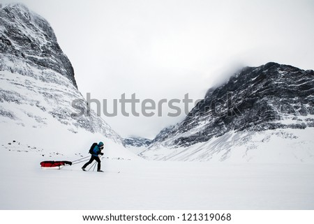 On a Winter Expedition in Lappland - stock photo
