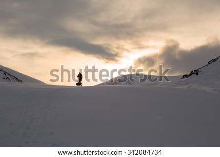 On a Winter Trip on Polcircle  - stock photo