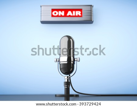 On Air Sign with Vintage Microphone on a blue background - stock photo