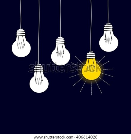 On and off light bulbs - stock photo