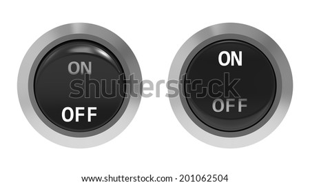 On and off position button switches front view isolated on white - stock photo