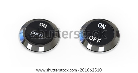 On and off position button switches isolated on white - stock photo