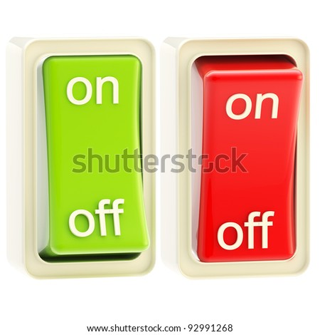 On and off switch glossy bright red and green tumblers isolated - stock photo