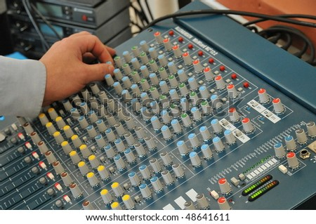 on Audio Mixing Board Sliders - stock photo