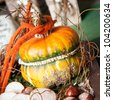 On beautiful yellow decorated pumpkin with some chestnuts in autumn - stock photo