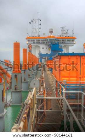 On board of a dredger - stock photo