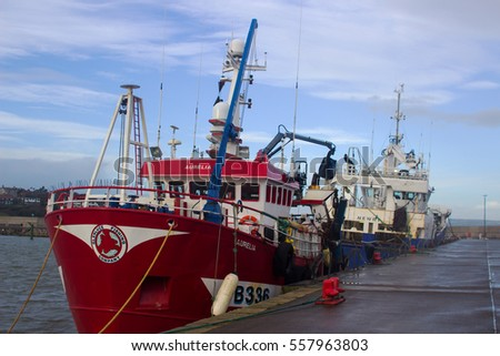 On 13 January 2017 these trawlers were berthed at Bangor Harbor In Northern Ireland as they took shelter from the strong gale that was blowing in the Irish sea and Belfast Lough