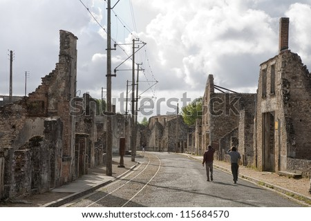 On June 10 - 1944  642 inhabitants of Oradour-sur-Glane in the southern France was killed by the German Gestapo and the village burned down. Burned out buildings still tell the story. - stock photo