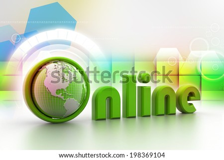 On-line illustration with globe.