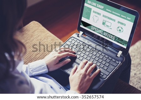 On line shop website template design on a laptop computer. Woman buying by internet. - stock photo