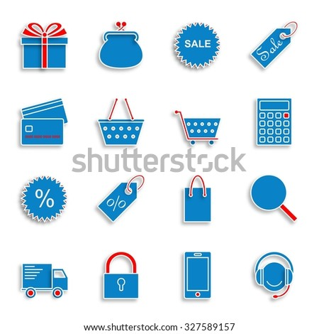 On line shopping icons