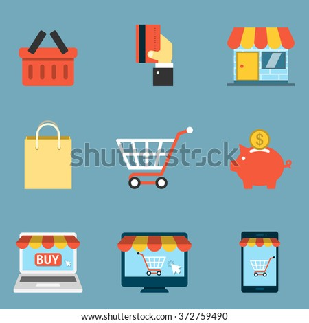 On line Shopping Icons Flat