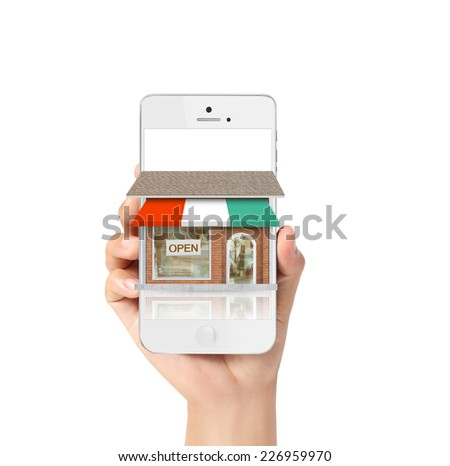 On line store. Sale, smart phone - stock photo