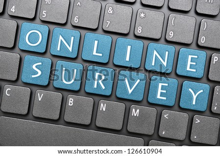 On line survey on keyboard - stock photo