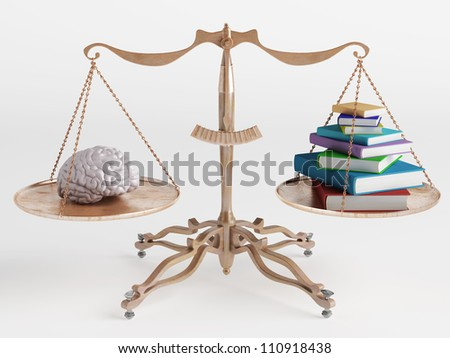 On one side of the scale brain to another book - stock photo