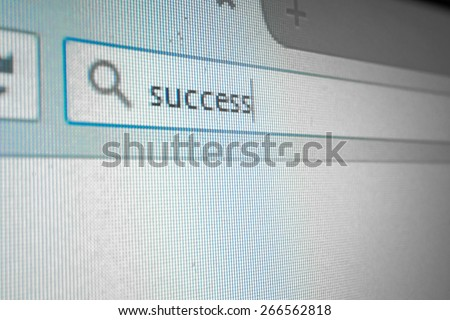 on screen word success in search engine box focus on wording - stock photo