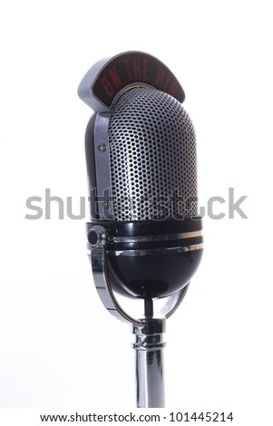 On the air microphone on a white background. - stock photo