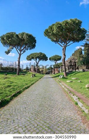 On the ancient Via Appia, the Appian Way, in Rome, Italy. - stock photo