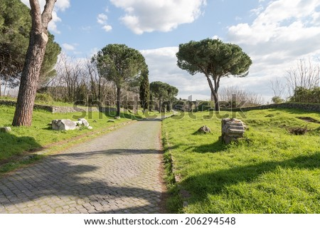 On the Appian Way, the Via Appia Antica, in Rome, Italy. - stock photo