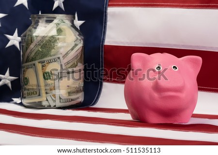 on the background of the flag piggy bank with dollar bank