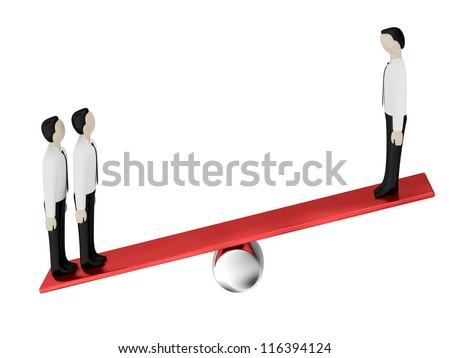 On the balance two persons against one person - stock photo