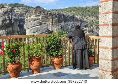 On the balcony of the monastery
