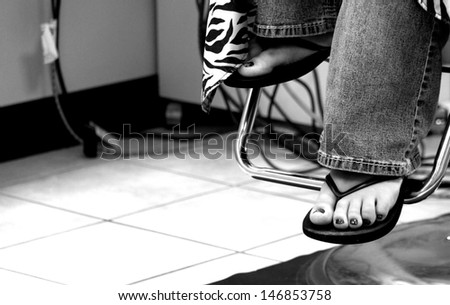 On the Barber Chair - stock photo