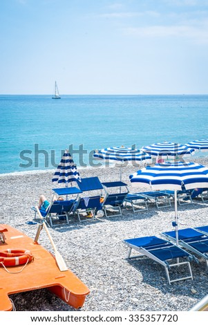 On the beach in Bordighera near Sanremo, Italy