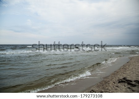 on the beach in winter time - stock photo