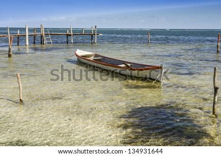 On the beach of Mahahual, Costa Maya cruise terminal , Quintana Roo, Mexico - stock photo