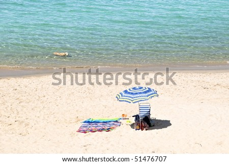 on the beach, with a swimming dog - stock photo