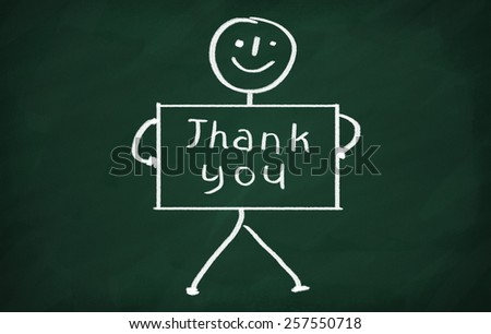 On the blackboard draw character and write Thank you - stock photo