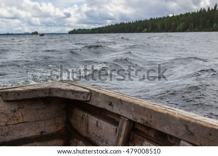 On the boat. Onega lake. Focus on board