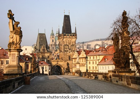 On the Charles Bridge in the morning, Prague - stock photo