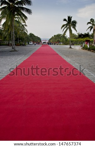 On the coast of the red carpet, the path of the dream. - stock photo