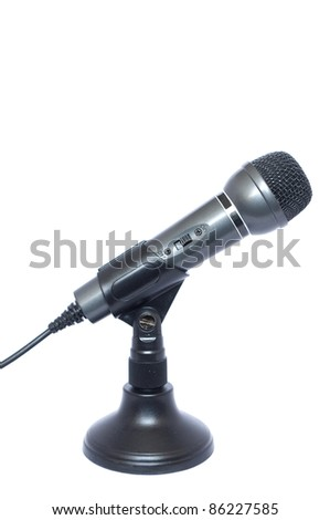 On the computer with a microphone