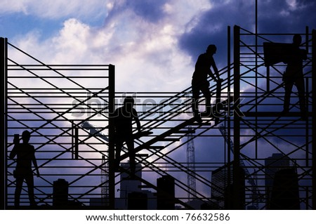 On the  construction - four men on the construction - stock photo