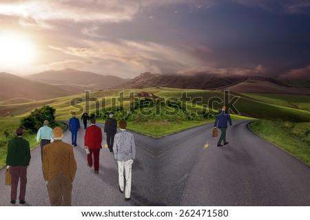 On the crossroads people choosing their pathway with one person going in different direction. Taking a chance outlier probability statistics concept - stock photo