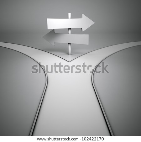On the crossroads - two opposite signposts - stock photo