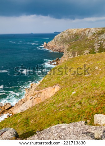 On the dramtic coastpath between Lands End and Sennen Cove Cornwall England UK Europe