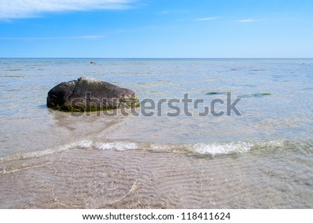 On the east coast of the island of Oland, Sweden, in the Baltic Sea. Empty beach and unspoilt nature. - stock photo