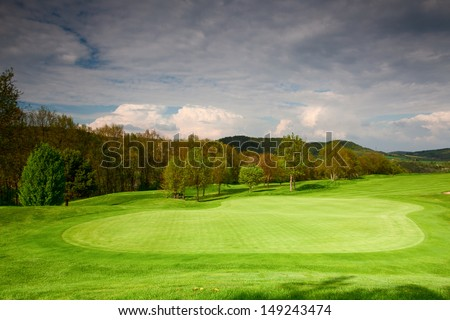 On the empty golf course in spring in Czech Republic